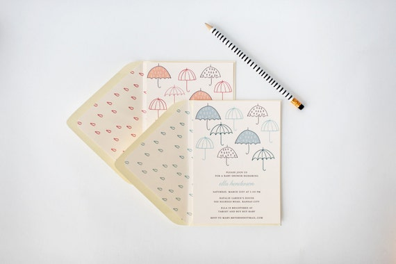 umbrella baby shower invitation  - customizable (sets of 10)  //  lola louie paperie