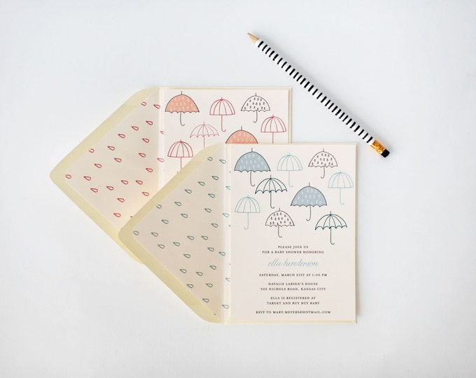umbrella baby shower / bridal shower invitation  - customizable (sets of 10)  //  umbrella pink blue gray boy girl neutral shower invite