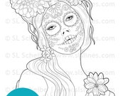 Digital Stamp Calavera girl, Day of the dead Dia de los muertos digistamp catrina, instant download adult coloring page