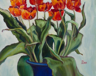 Original Oil Painting Tulips in a Blue Vase Original Artwork Home Decor Oil on Canvas Floral 40x40cm 2016