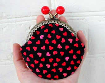 Coin Purse Hearts, Valentine Day coin purse, Girlfriend Gift for her Small Purse Women gift purse, Gift for women coin purse Be my Valentine