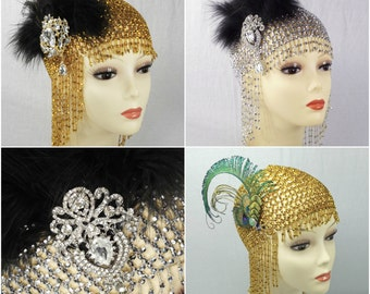 Great Gatsby Headpiece, Roaring 20s Headpiece, 1920s, Flapper Headband, Feather Headband, Wedding Bridal, Beaded Headpiece