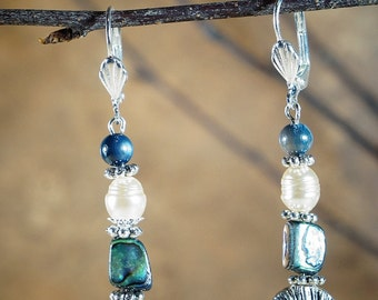 Jewelry, Earrings, Silver Tone Earrings, Abalone and Pearl Earrings, Dangle Earrings, Silver Shell Earrings, Prom Jewelry