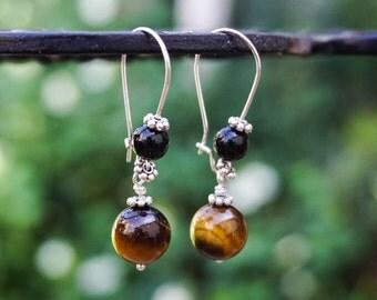 Tiger Eye and Black Onyx Earrings, Gemstone Earrings, Silver Plated Earrings,Brown Earrings,Earrings Hooks,Silver Earrings,Kidney Earrings