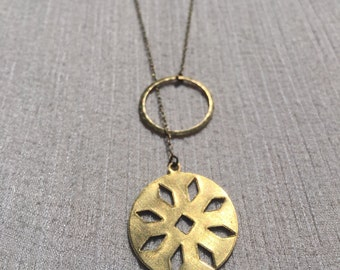 Hoop and plated brass pendant on brass chain