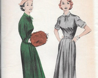 "Vintage 1950s Butterick Sewing Pattern 6634- Misses' Dress with tab accents size 14 bust 32"" uncut"