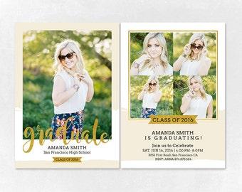 Senior Graduation Announcement Template for Photographers PSD Flat card - Graduation Template - Photography Template  G006