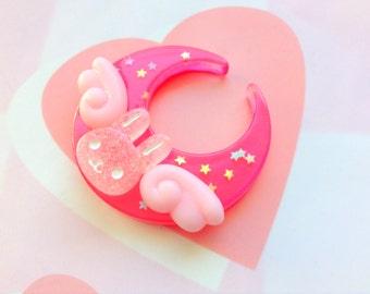 Fairy Kei Dark Pink Moon Hair Clip, Angel Bunny Brooch Pin, Moon Rabbit Hair Clip, Kawaii Bunny Hair Clip, Cute Animal, Lolita Pastel Goth