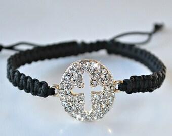 Crystal Cross Knotted Friendship Bracelet