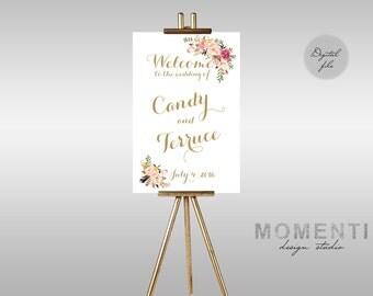 Printable Wedding Welcome sign, Bohemian gold wedding sign printable, Boho gold floral eception sign printable, The Mia collection