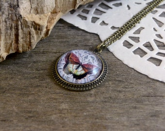 Butterfly necklace, Glass dome necklace, Maroon butterfly jewelry, Butterfly vintage illustration pendant, Woodland bronze necklace WJ 005