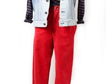 Diesel denim Pants, Jean pants, Red denim pants, Red jeans, Vintage Diesel pants, Diesel jeans, High waist, Tapered leg / XS Small size 31