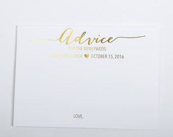 Gold Foiled Advice Cards for the Newlyweds, Wedding Advice Cards, Newlywed Advice Cards (Advice7-F)