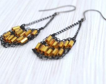 Modern Chevron Dangling Earrings with Gold Beads