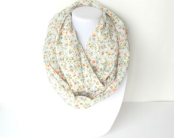Floral Infinity Scarf, Summer Infinity Scarf, Lightweight, Tiny Florals, Orange Green Scarf