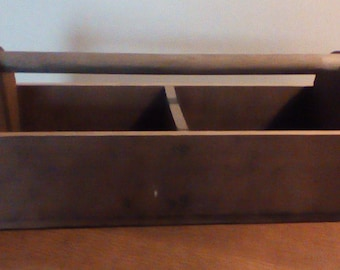 Vintage wooden tool or garden tote, vintage wood box, wooden tote, wooden carry box