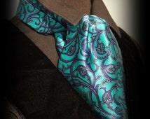 Men's Victorian Satin Dress Cravat - Teal Purple Paisley Steampunk Ascot - Gentlemen's Accessory