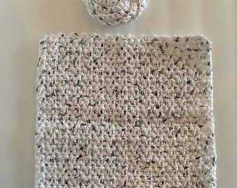 Hand-Crocheted Washcloth and Scrubbie