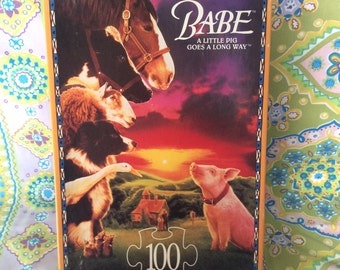 Vintage 1990's Babe A Little Pig Goes A Long Way Puzzle. Vintage Babe The Pig Puzzle.