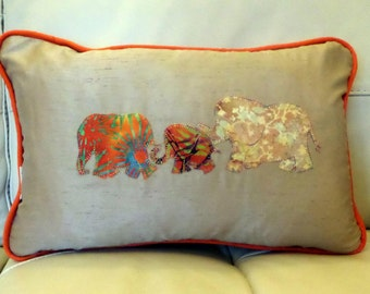 Elephant cushion, applique and batik decorative pillow