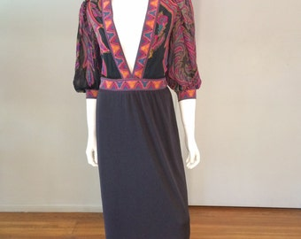 Vintage Leonard Paris Silk Jersey Printed Dress w/Plunging Neckline