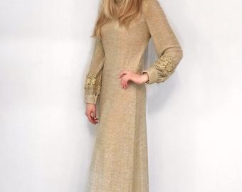 Vintage 1970's Lilli Diamond Gold Knit Long Sleeve Dress