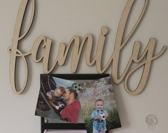 Family Laser Cut Wood Word Sign Unfinished