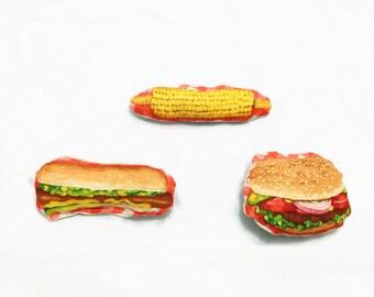 Catnip or Valerian Cat Toys - Barbecue/BBQ/Fast Food - Burger/Corn/Hot Dog - 3 Pack Set