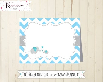 blue place cards baby shower elephant baby blue chevron place cards printable elephant food tents baby shower blue food tents printable 118