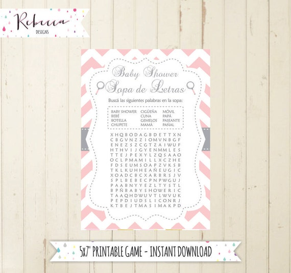 Baby Shower Games In Spanish: Baby Shower Wordsearch Game In Spanish Baby Shower In Spanish