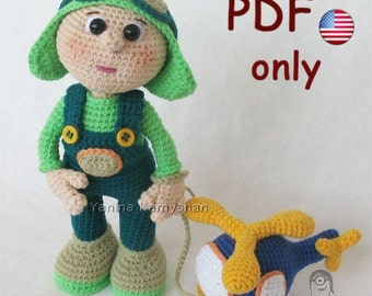 Two toys - Aviator and Helicopter set, amigurumi crochet pattern