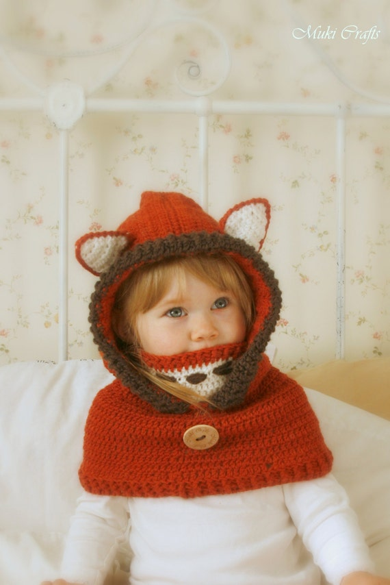 Crochet fox hood cowl Reed - PDF crochet pattern - in baby, toddler, child and adult sizes