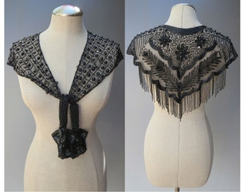 Vintage 1980's Glam Black Beaded Sequined Fringed Lacy Shawl Collar Capelet