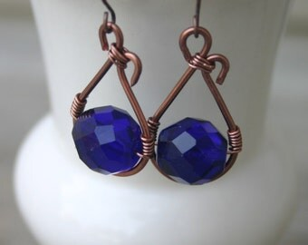 Cobalt Glass and Copper Earrings, Cobalt Czech Glass Earrings, Blue and Copper, Cobalt Glass Dangle Earrings