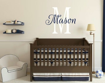 Personalized Name Initial Wall Decal Name Wall Vinyl Boy Girl Bedroom Wall Decal Nursery Wall Decal Girl Bedroom Decal Boy Bedroom