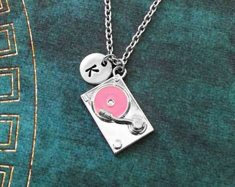 Turntable Necklace Vinyl Record Necklace Music Jewelry DJ Necklace Girl DJ Gift Hip Hop Necklace Music Necklace Hip Hop Jewelry Pink Record