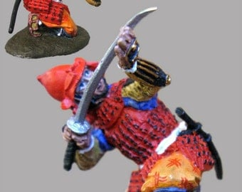 Japanese Samurai Hand Painted Action Figurine with Sword Medieval 1/32 Scale Toy Soldier 54mm  Tin Metal Miniature