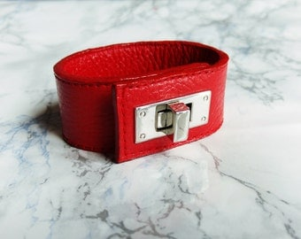 Red Leather Bracelet for Women, Leather Cuff Bracelet, Handmade Leather Jewelry, Statement Bracelet