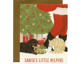 "Dog & Cat Christmas/Holiday Card - ""Santa's Little Helpers"" - ID: HOL036"