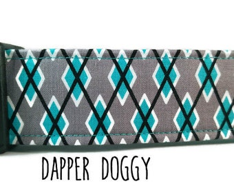 Boy Dog Collar - Blue Argyle Dog Collar - Blue Dog Collar - Dapper Dog Collar - Dapper Doggy - (Standard, Metal Buckle, or Martingale)