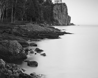 Split Rock Lighthouse, Duluth, Lake Superior, Nautical, North Shore, Minnesota, Black and White - Travel Photography, Print, Wall Art