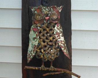 Kitsch brazed metal owl relief