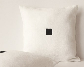 Black and white pillow - Pure linen - Minimalist rustic square - Modern Scandinavian style by Linenspace | 0067