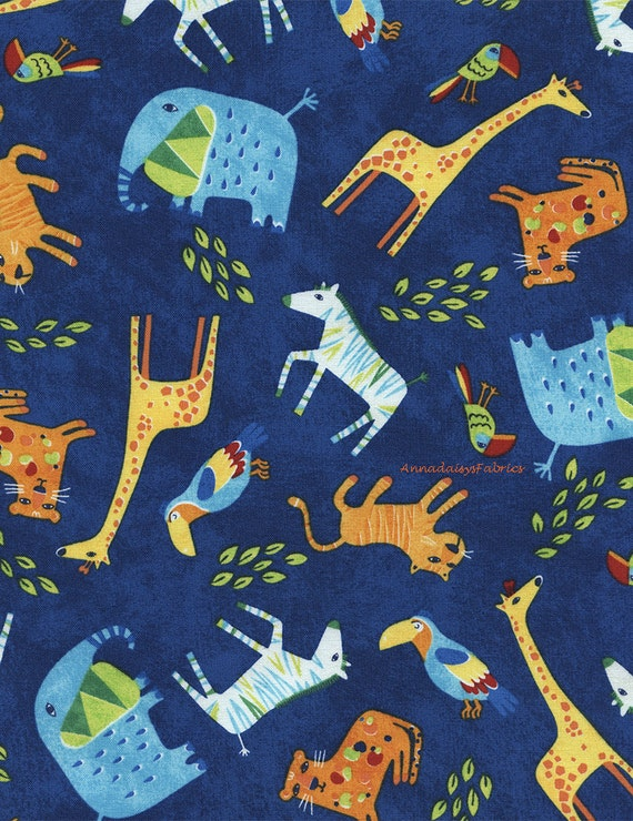 Jungle animal fabric timeless treasures wild about you for Kids jungle fabric