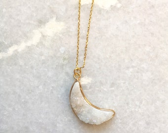 Florence Necklace- Crescent Moon Druzy Stone