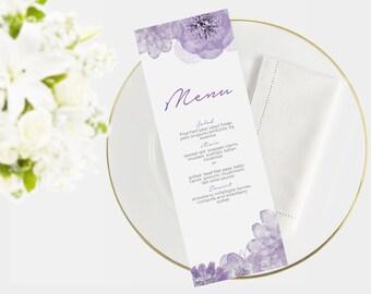Wedding Menu Template | Instant Download  | Printable menu |  DIY I Floral Purple