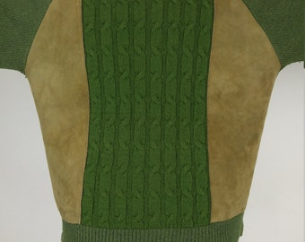 Suede and Wool Vintage 1960s Sweater, size XL