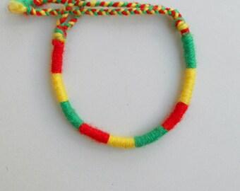 Reggae bracelet Friendship bracelet Red Yellow Green Yarn bracelet,One Love,Bob Marley,Roots,Africa bracelet,Hippie jewelry,Friendship gift