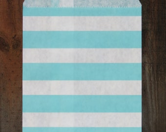 Baby Blue Sailor Striped Paper bags  ( 12 bags/pack)