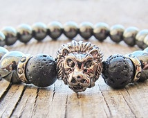 Lion head bracelet Mens silver bracelet Brothers Gift ideas for him Hematite bracelet Beaded bracelet Mens jewellery Protection bracelet